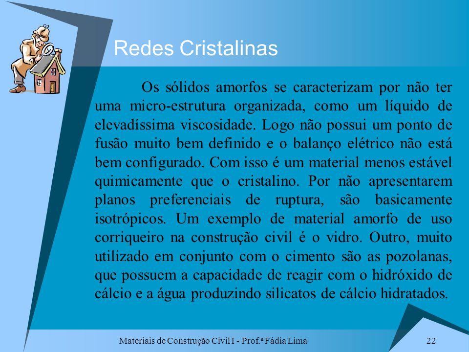 Materiais de Construção Civil I - Prof.ª Fádia Lima 22 Redes Cristalinas Os sólidos amorfos se caracterizam por não ter uma micro-estrutura organizada