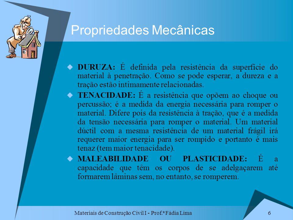 Materiais de Construção Civil I - Prof.ª Fádia Lima 6 Propriedades Mecânicas DURUZA: É definida pela resistência da superfície do material à penetraçã