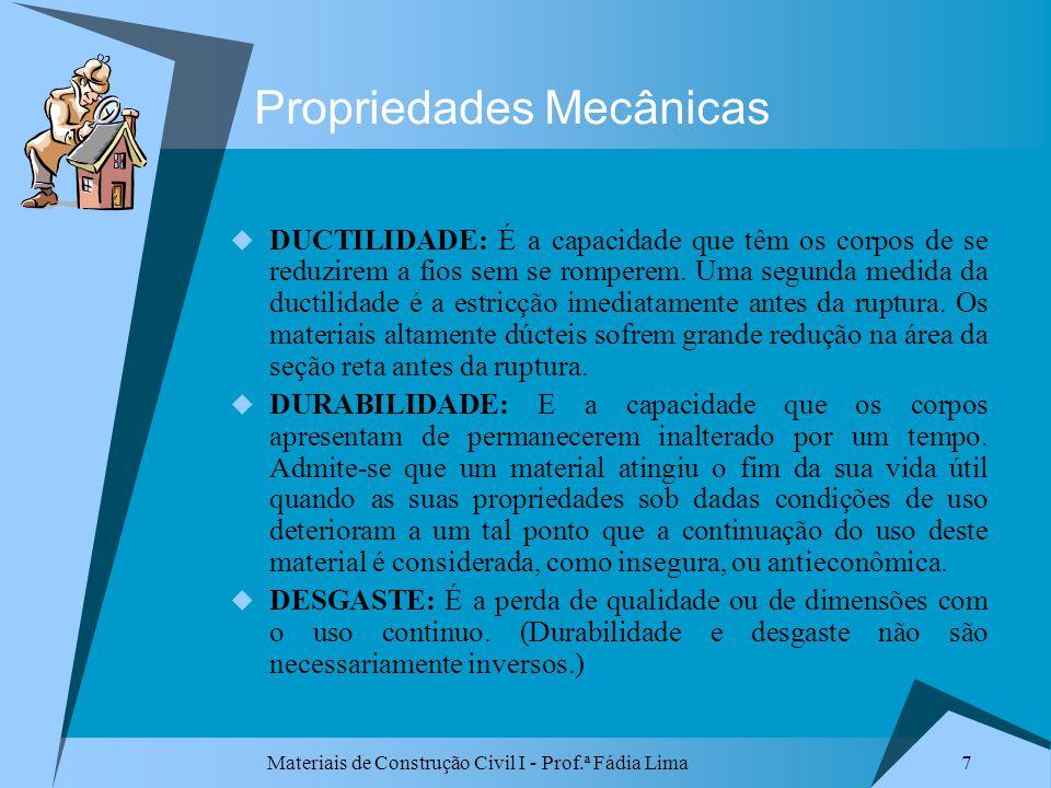 Materiais de Construção Civil I - Prof.ª Fádia Lima 7 Propriedades Mecânicas DUCTILIDADE: É a capacidade que têm os corpos de se reduzirem a fios sem