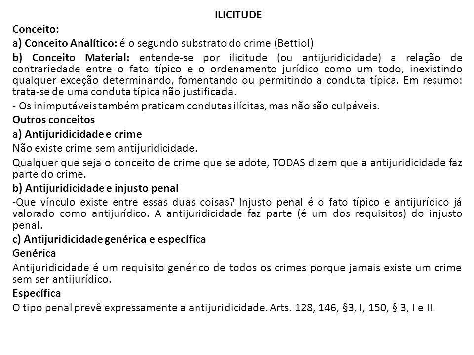ILICITUDE Conceito: a) Conceito Analítico: é o segundo substrato do crime (Bettiol) b) Conceito Material: entende-se por ilicitude (ou antijuridicidad