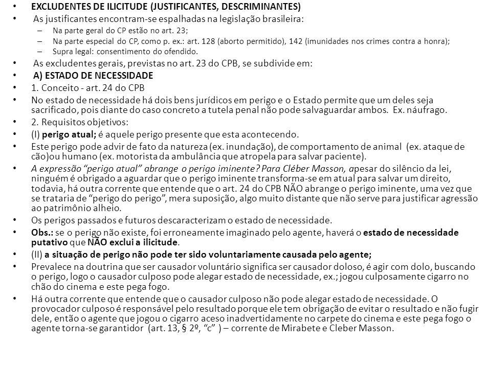 EXCLUDENTES DE ILICITUDE (JUSTIFICANTES, DESCRIMINANTES) As justificantes encontram-se espalhadas na legislação brasileira: – Na parte geral do CP est