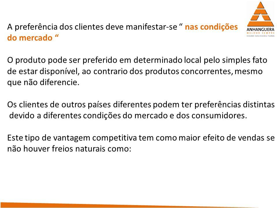 A preferência dos clientes deve manifestar-se nas condições do mercado O produto pode ser preferido em determinado local pelo simples fato de estar di
