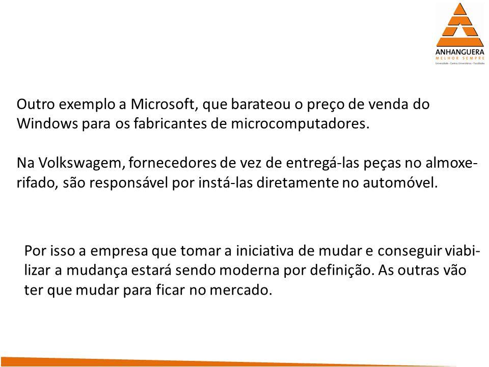 Outro exemplo a Microsoft, que barateou o preço de venda do Windows para os fabricantes de microcomputadores. Na Volkswagem, fornecedores de vez de en