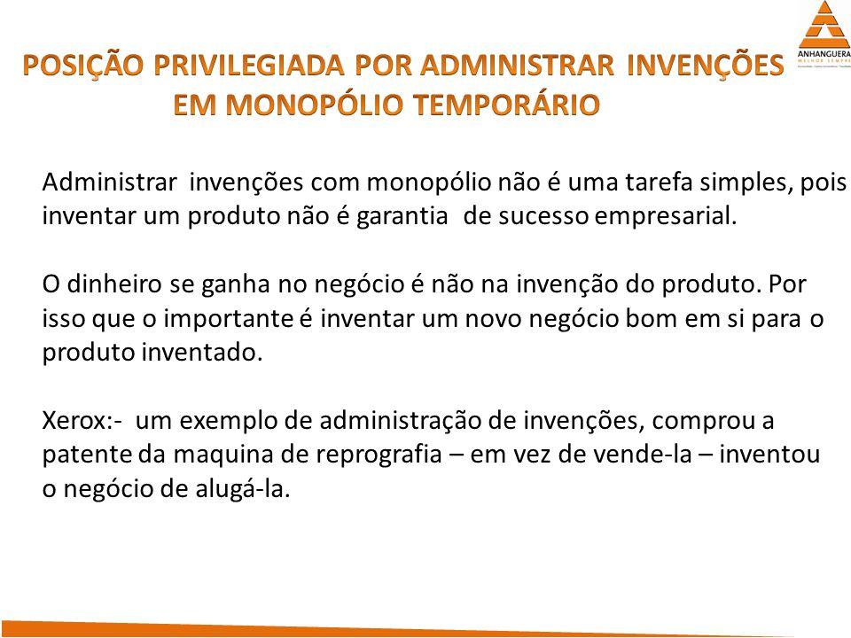 Administrar invenções com monopólio não é uma tarefa simples, pois inventar um produto não é garantia de sucesso empresarial. O dinheiro se ganha no n