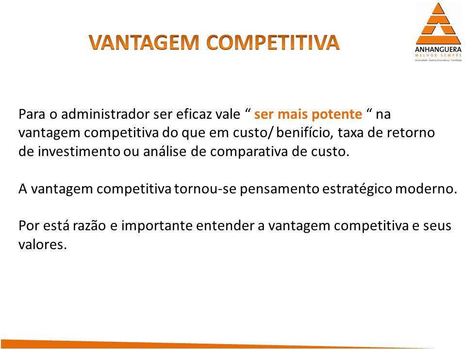 Para o administrador ser eficaz vale ser mais potente na vantagem competitiva do que em custo/ benifício, taxa de retorno de investimento ou análise d