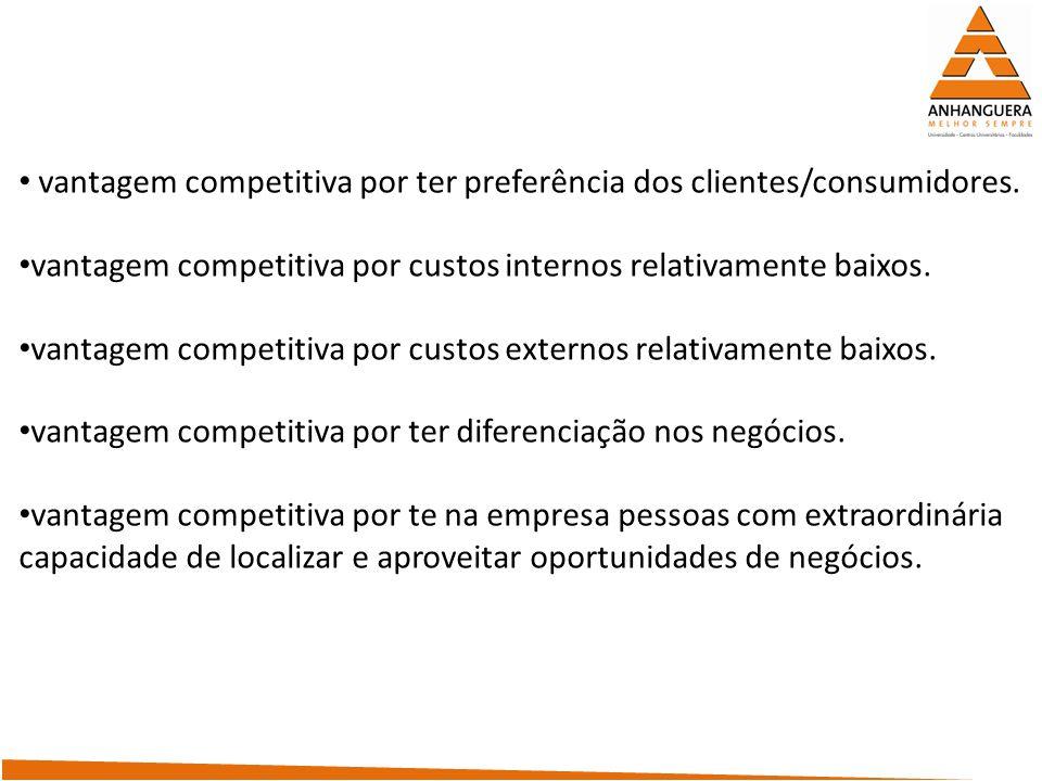 vantagem competitiva por ter preferência dos clientes/consumidores. vantagem competitiva por custos internos relativamente baixos. vantagem competitiv