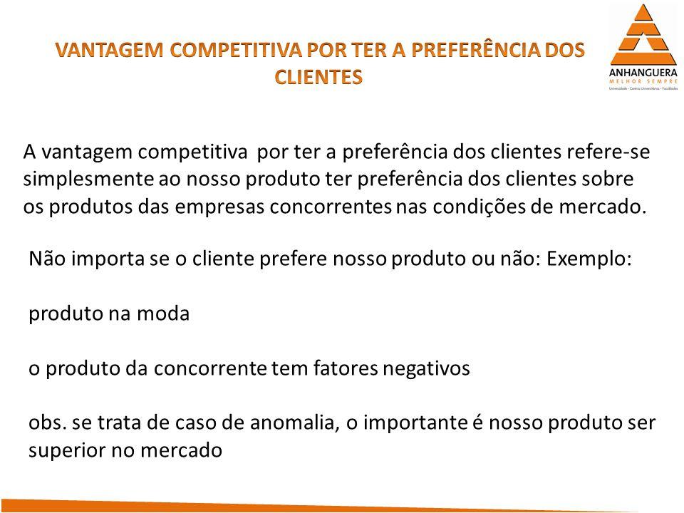 A vantagem competitiva por ter a preferência dos clientes refere-se simplesmente ao nosso produto ter preferência dos clientes sobre os produtos das e