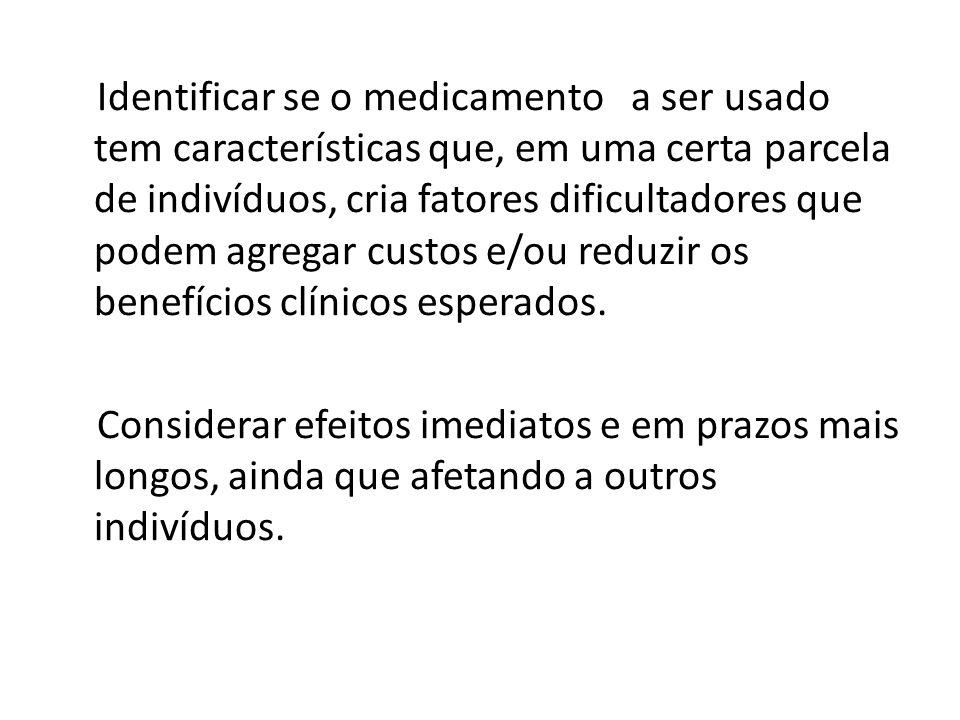 Identificar se o medicamento a ser usado tem características que, em uma certa parcela de indivíduos, cria fatores dificultadores que podem agregar cu