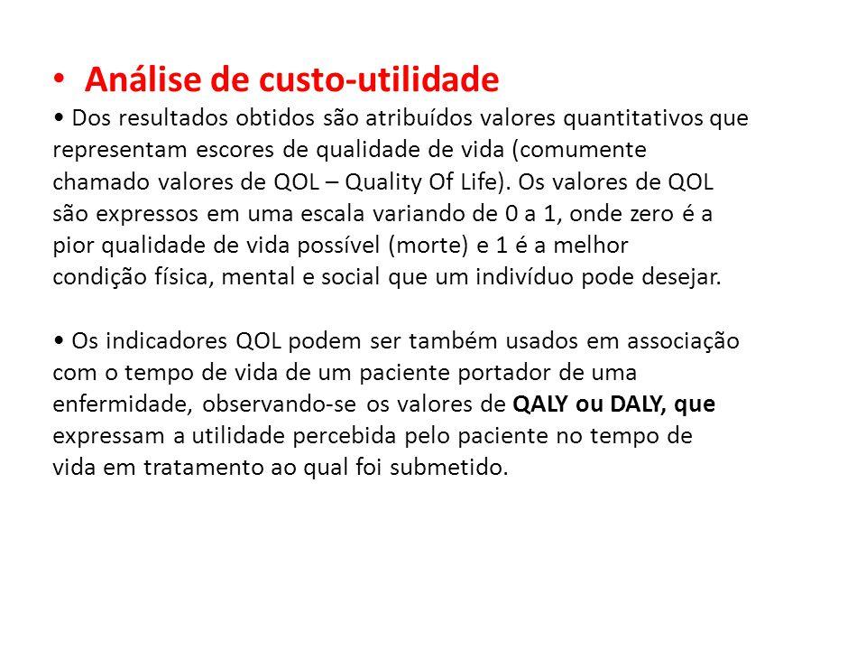 Análise de custo-utilidade Dos resultados obtidos são atribuídos valores quantitativos que representam escores de qualidade de vida (comumente chamado valores de QOL – Quality Of Life).