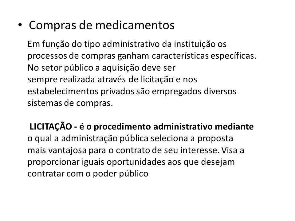 Compras de medicamentos Em função do tipo administrativo da instituição os processos de compras ganham características específicas. No setor público a