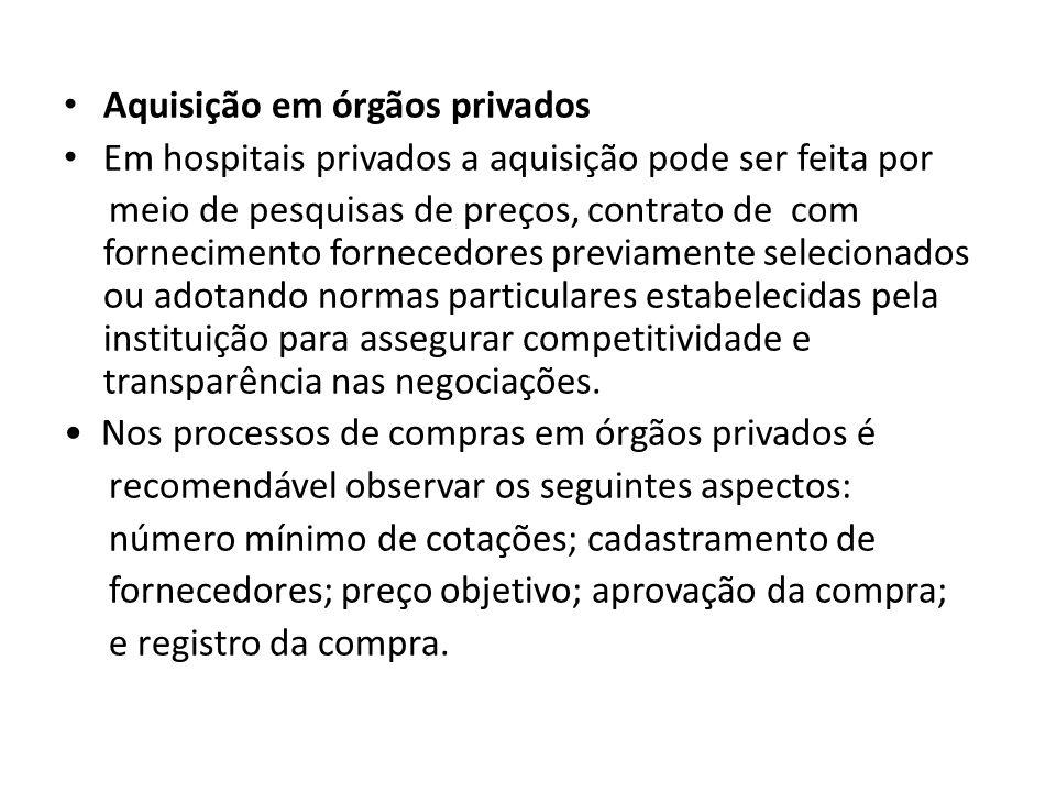 Aquisição em órgãos privados Em hospitais privados a aquisição pode ser feita por meio de pesquisas de preços, contrato de com fornecimento fornecedor