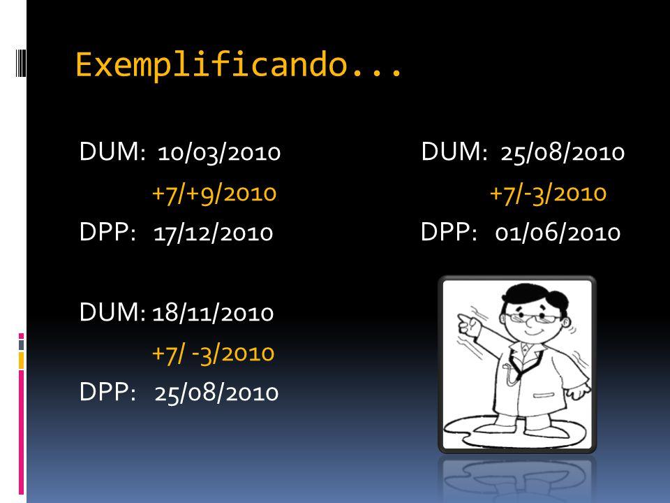 Exemplificando... DUM: 10/03/2010 DUM: 25/08/2010 +7/+9/2010 +7/-3/2010 DPP: 17/12/2010 DPP: 01/06/2010 DUM: 18/11/2010 +7/ -3/2010 DPP: 25/08/2010