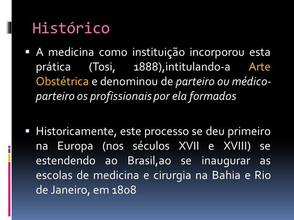 Histórico A medicina como instituição incorporou esta prática (Tosi, 1888),intitulando-a Arte Obstétrica e denominou de parteiro ou médico- parteiro o