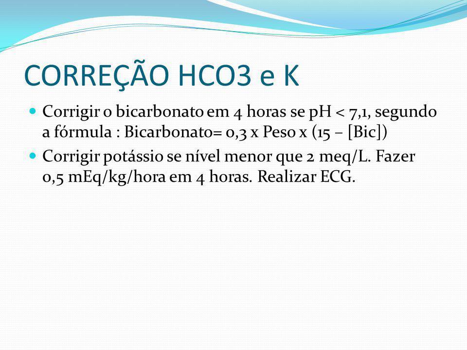 CORREÇÃO HCO3 e K Corrigir o bicarbonato em 4 horas se pH < 7,1, segundo a fórmula : Bicarbonato= 0,3 x Peso x (15 – [Bic]) Corrigir potássio se nível menor que 2 meq/L.