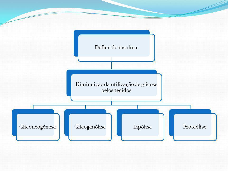 Déficit de insulina Diminuição da utilização de glicose pelos tecidos GliconeogêneseGlicogenóliseLipóliseProteólise
