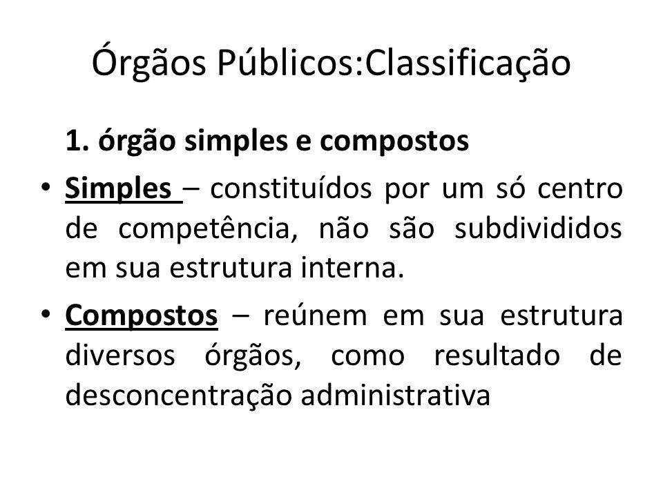 Órgãos Públicos:Classificação 1. órgão simples e compostos Simples – constituídos por um só centro de competência, não são subdivididos em sua estrutu