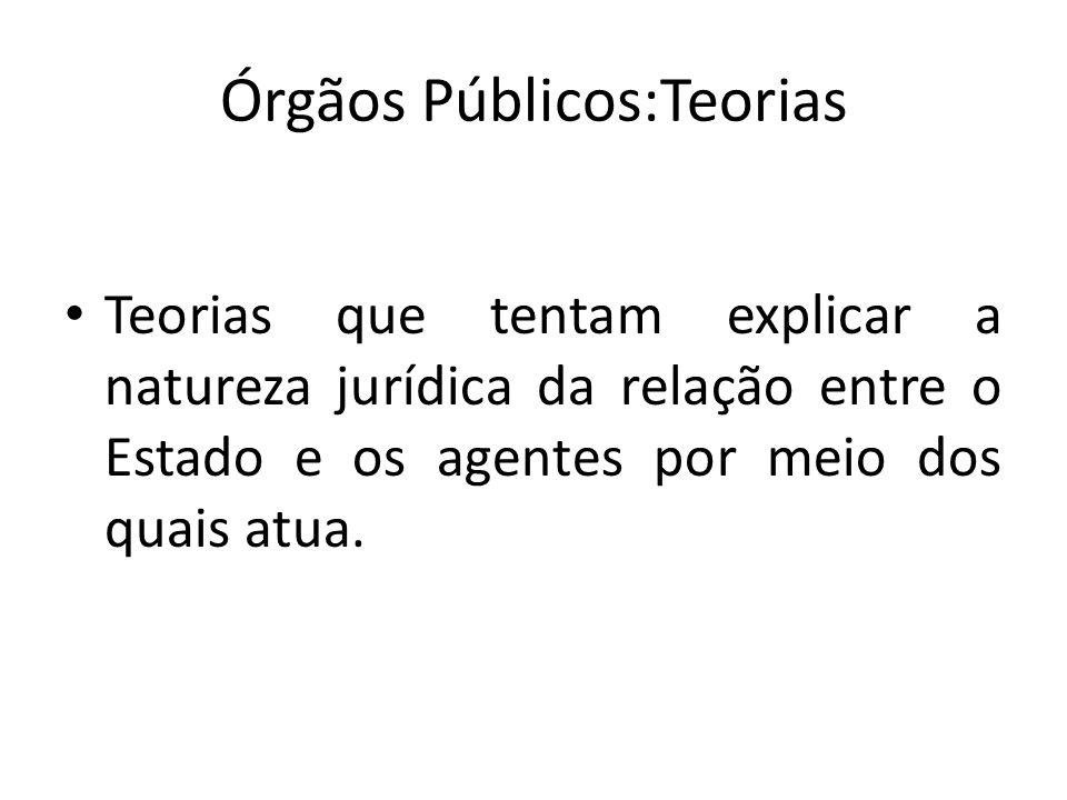 Órgãos Públicos:Teorias Teorias que tentam explicar a natureza jurídica da relação entre o Estado e os agentes por meio dos quais atua.