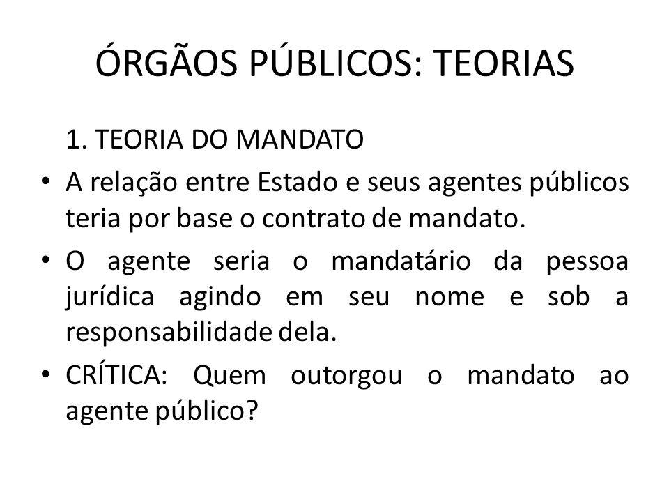 ÓRGÃOS PÚBLICOS: TEORIAS 1. TEORIA DO MANDATO A relação entre Estado e seus agentes públicos teria por base o contrato de mandato. O agente seria o ma