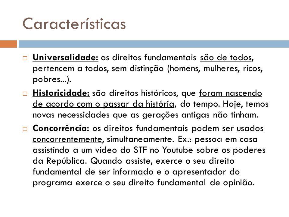 Características Universalidade: os direitos fundamentais são de todos, pertencem a todos, sem distinção (homens, mulheres, ricos, pobres...). Historic