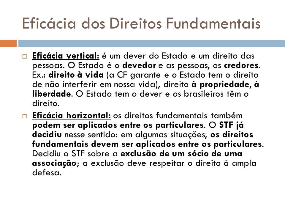 Eficácia dos Direitos Fundamentais Eficácia vertical: é um dever do Estado e um direito das pessoas. O Estado é o devedor e as pessoas, os credores. E
