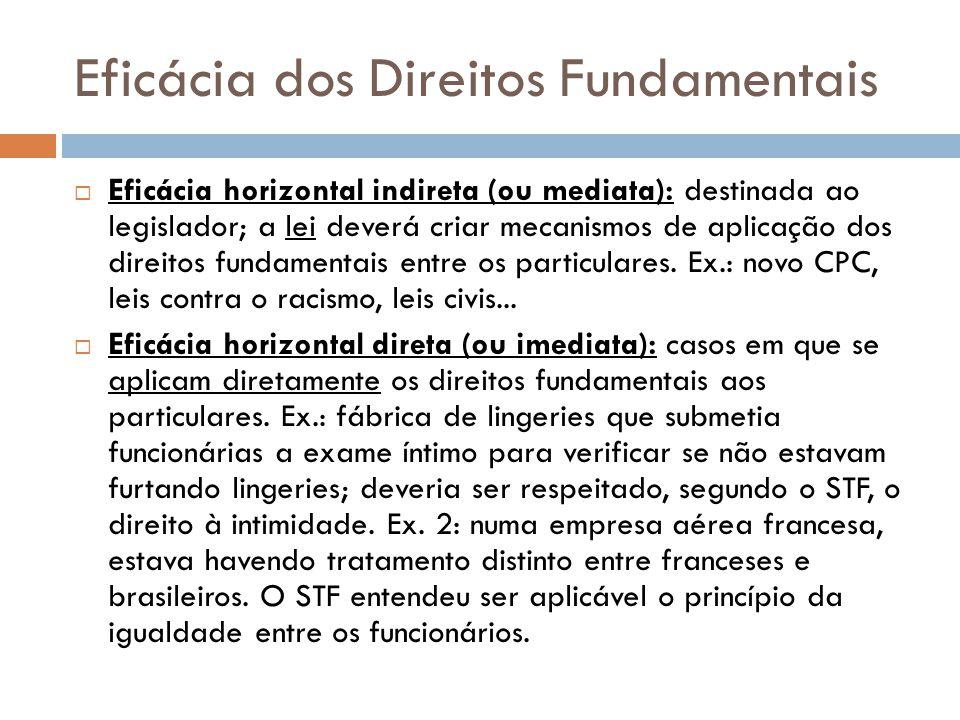 Eficácia dos Direitos Fundamentais Eficácia horizontal indireta (ou mediata): destinada ao legislador; a lei deverá criar mecanismos de aplicação dos