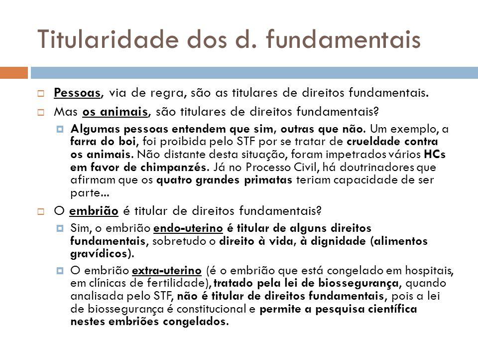 Titularidade dos d. fundamentais Pessoas, via de regra, são as titulares de direitos fundamentais. Mas os animais, são titulares de direitos fundament