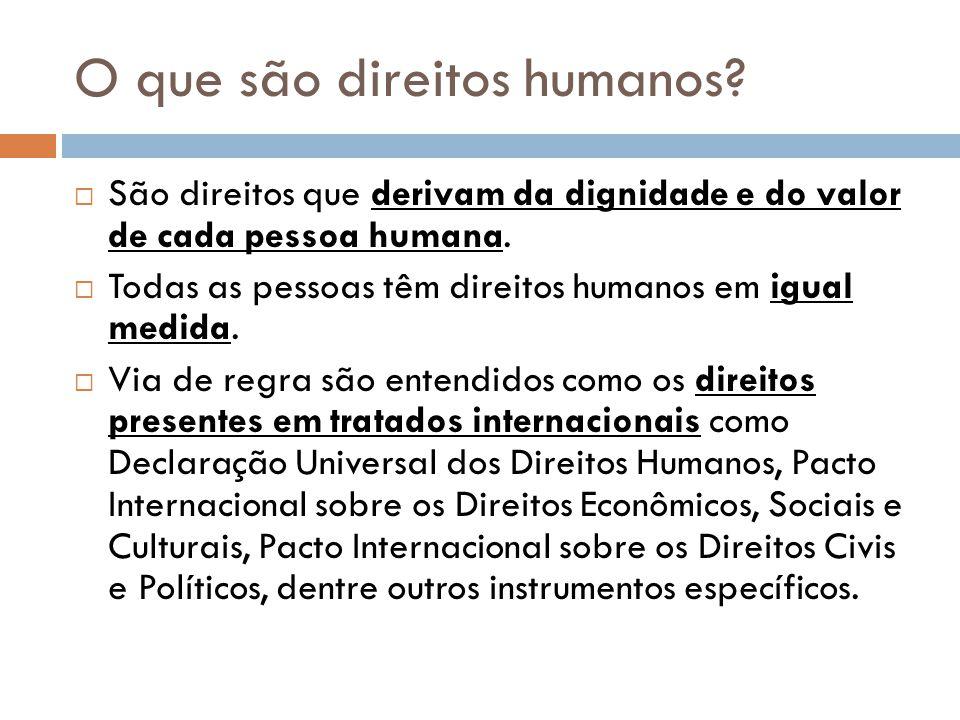 O que são direitos humanos? São direitos que derivam da dignidade e do valor de cada pessoa humana. Todas as pessoas têm direitos humanos em igual med