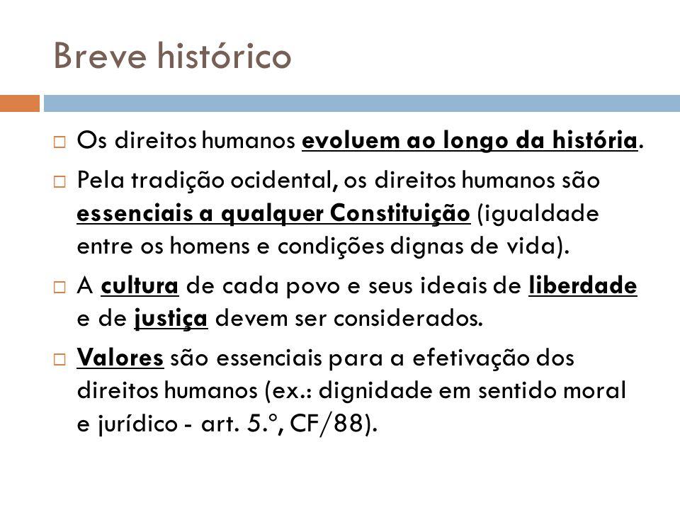 Breve histórico Os direitos humanos evoluem ao longo da história. Pela tradição ocidental, os direitos humanos são essenciais a qualquer Constituição