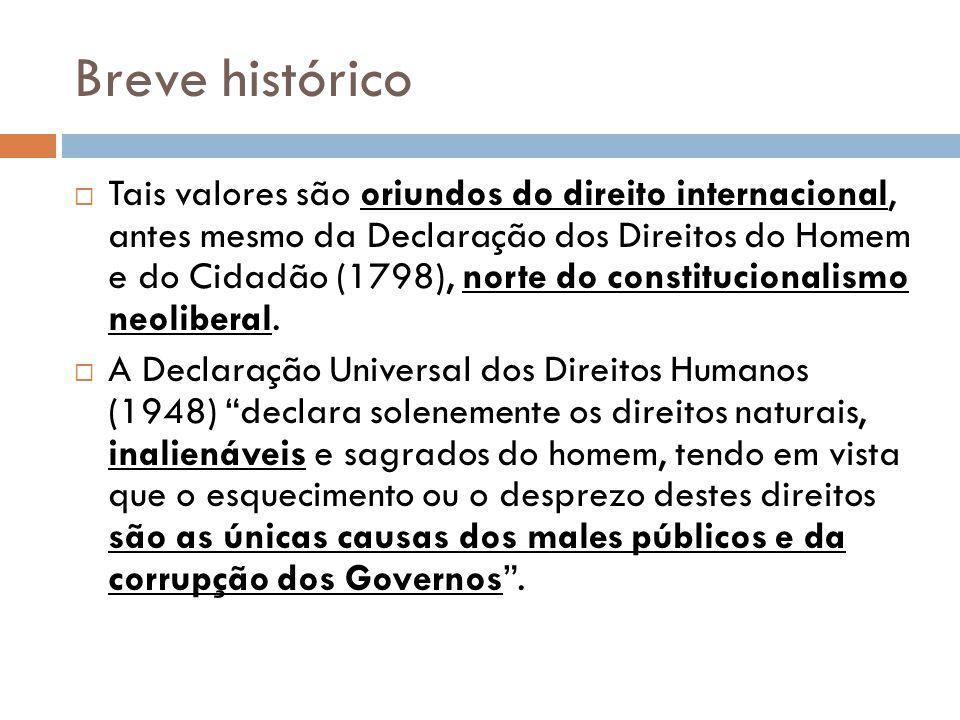 Breve histórico Tais valores são oriundos do direito internacional, antes mesmo da Declaração dos Direitos do Homem e do Cidadão (1798), norte do cons