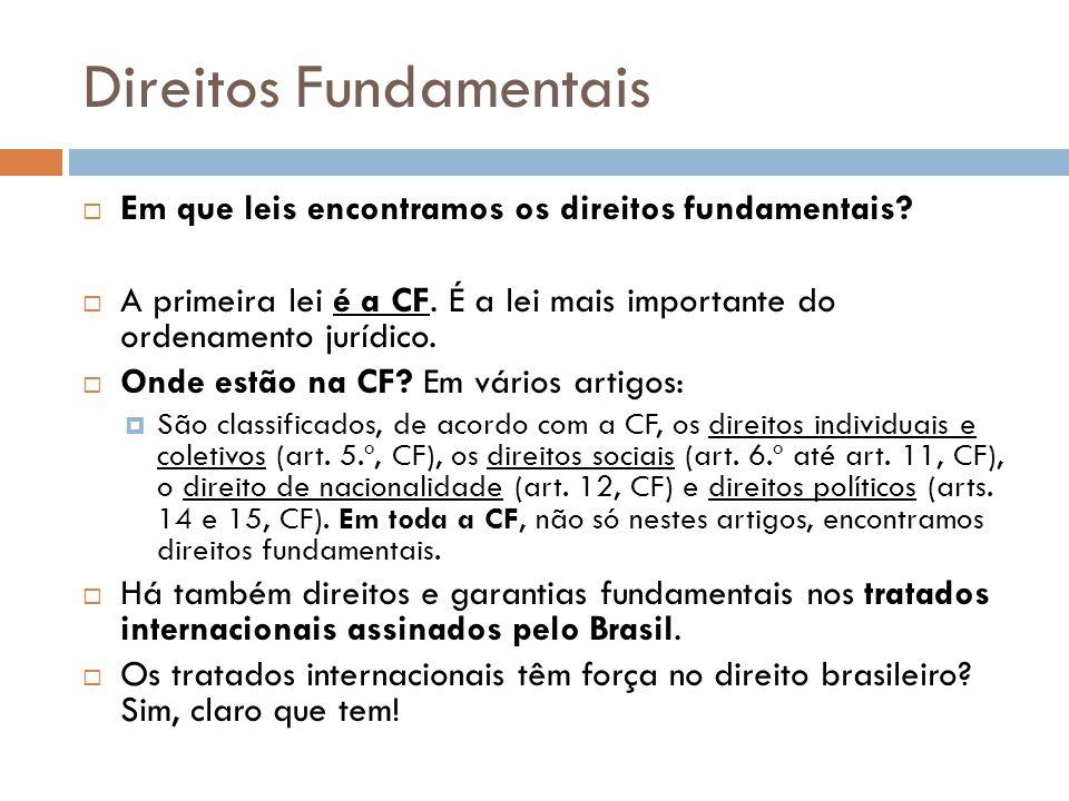Direitos Fundamentais Em que leis encontramos os direitos fundamentais? A primeira lei é a CF. É a lei mais importante do ordenamento jurídico. Onde e