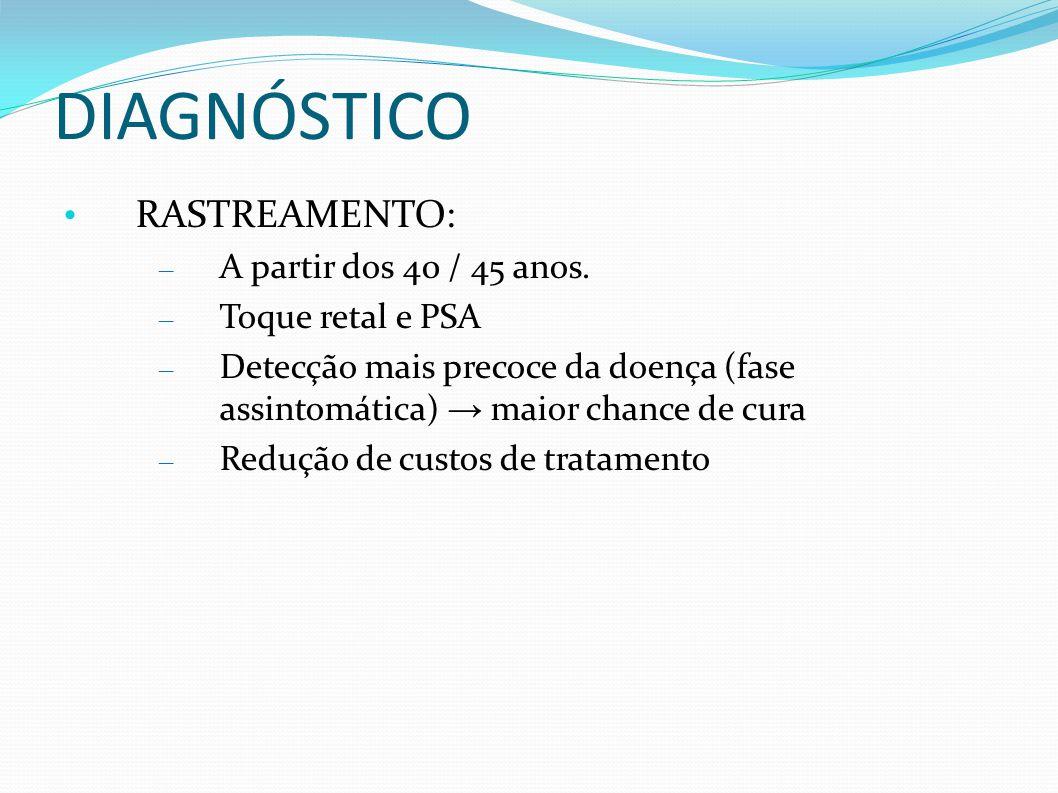 DIAGNÓSTICO RASTREAMENTO: – A partir dos 40 / 45 anos. – Toque retal e PSA – Detecção mais precoce da doença (fase assintomática) maior chance de cura