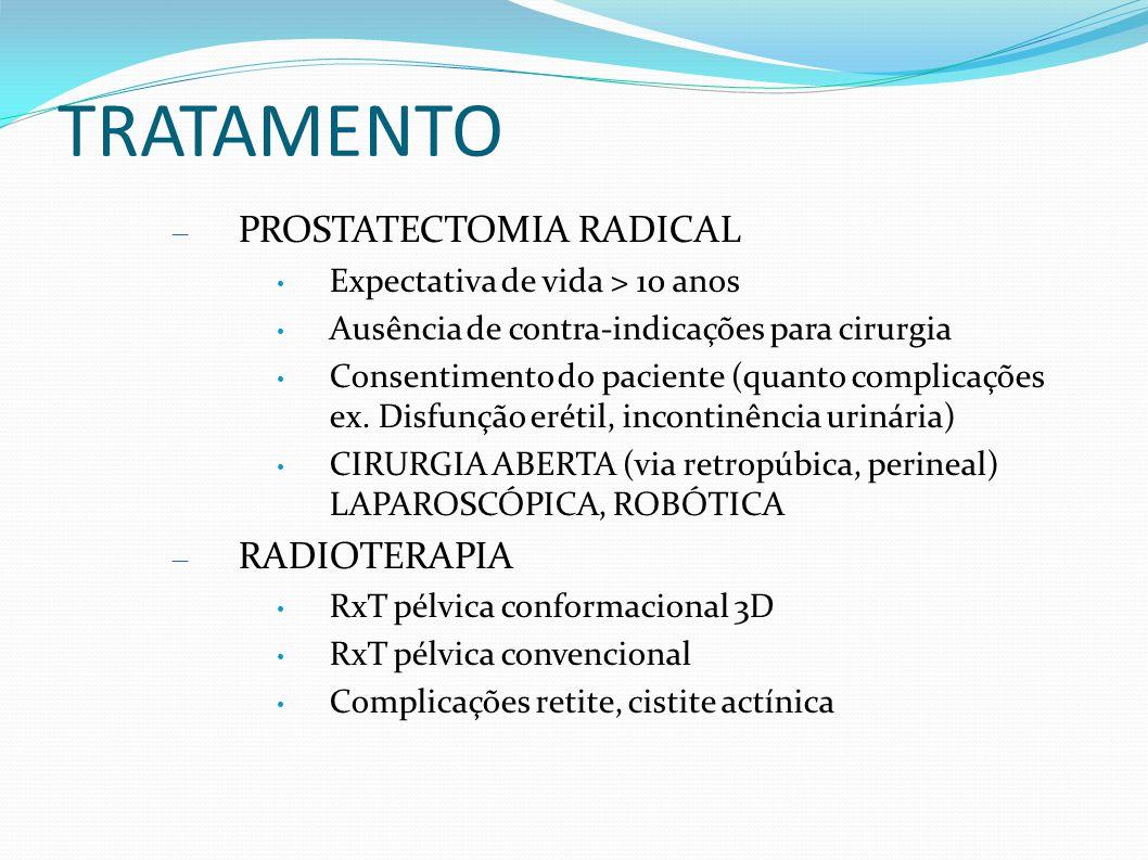 TRATAMENTO – PROSTATECTOMIA RADICAL Expectativa de vida > 10 anos Ausência de contra-indicações para cirurgia Consentimento do paciente (quanto compli