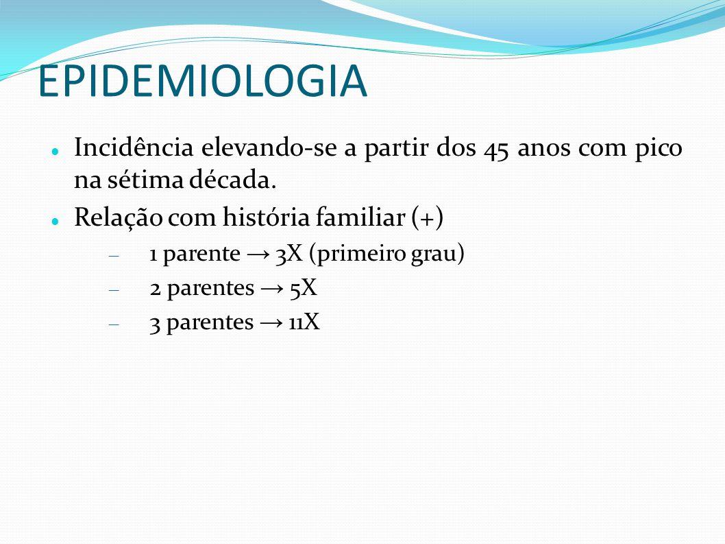 EPIDEMIOLOGIA Dieta gordurosa maior biodisponibilidade de testosterona maior incidência de CaP Fatores protetores selênio, vit E, licopenos (todos são antioxidantes), genisteínas (isoflavona)