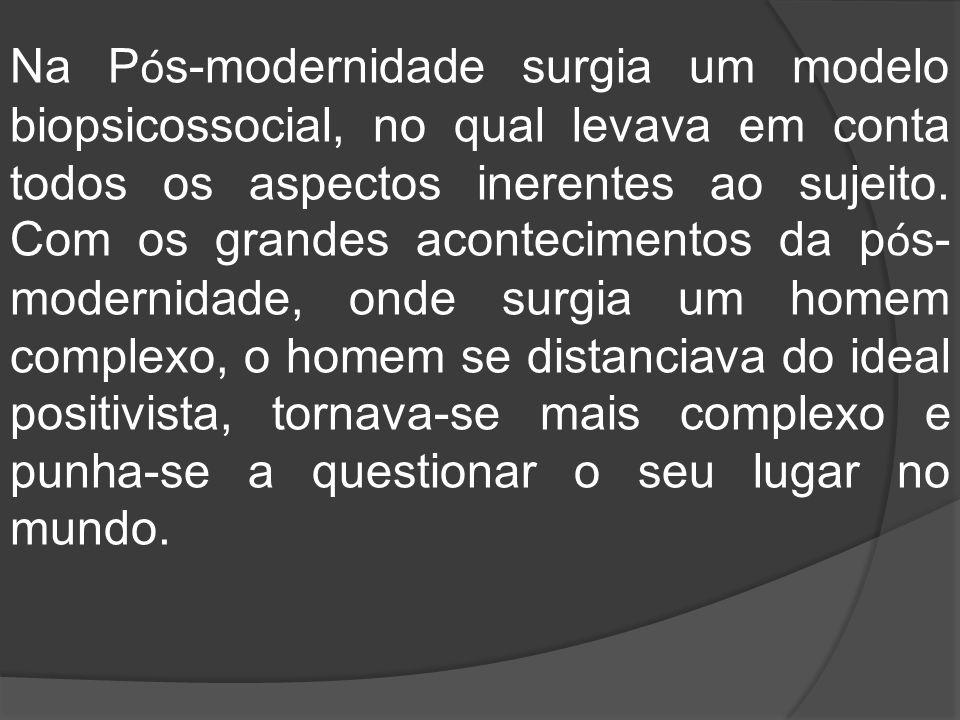 Na P ó s-modernidade surgia um modelo biopsicossocial, no qual levava em conta todos os aspectos inerentes ao sujeito. Com os grandes acontecimentos d