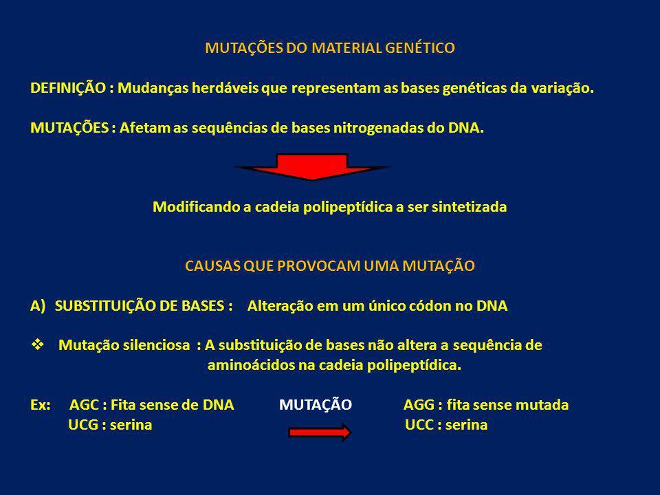 MUTAÇÕES DO MATERIAL GENÉTICO DEFINIÇÃO : Mudanças herdáveis que representam as bases genéticas da variação. MUTAÇÕES : Afetam as sequências de bases