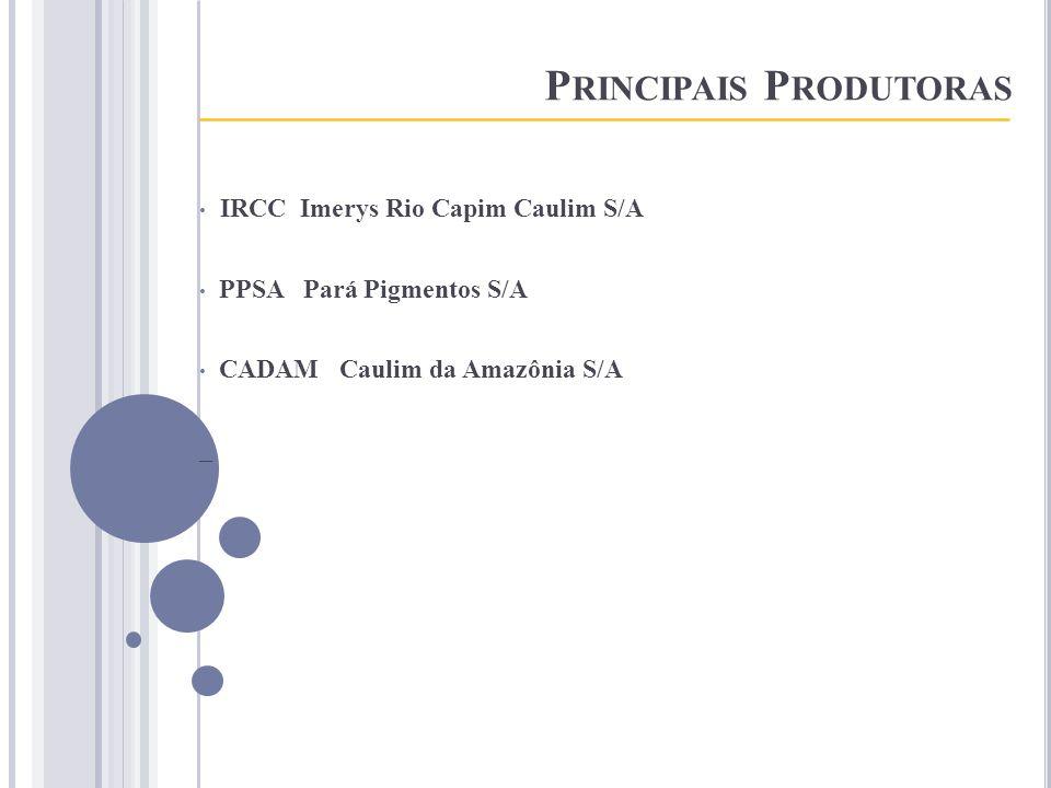 P RINCIPAIS P RODUTORAS _____________________________________ IRCC Imerys Rio Capim Caulim S/A PPSA Pará Pigmentos S/A CADAM Caulim da Amazônia S/A _