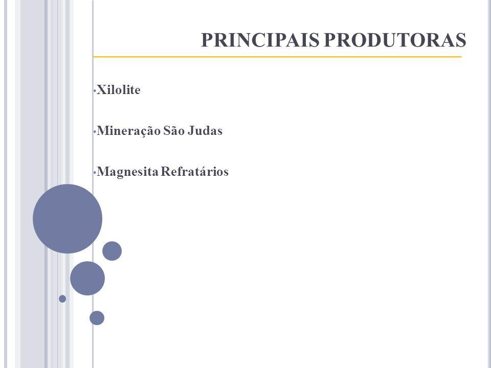 PRINCIPAIS PRODUTORAS ____________________________________ Xilolite Mineração São Judas Magnesita Refratários