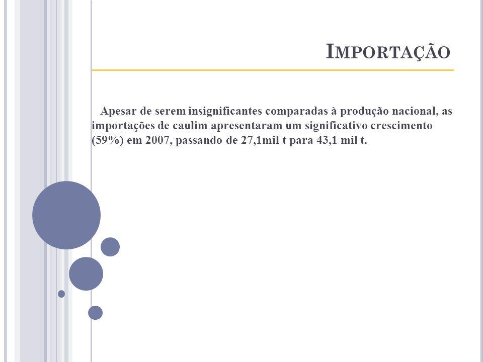 I MPORTAÇÃO ____________________________________ Apesar de serem insignificantes comparadas à produção nacional, as importações de caulim apresentaram