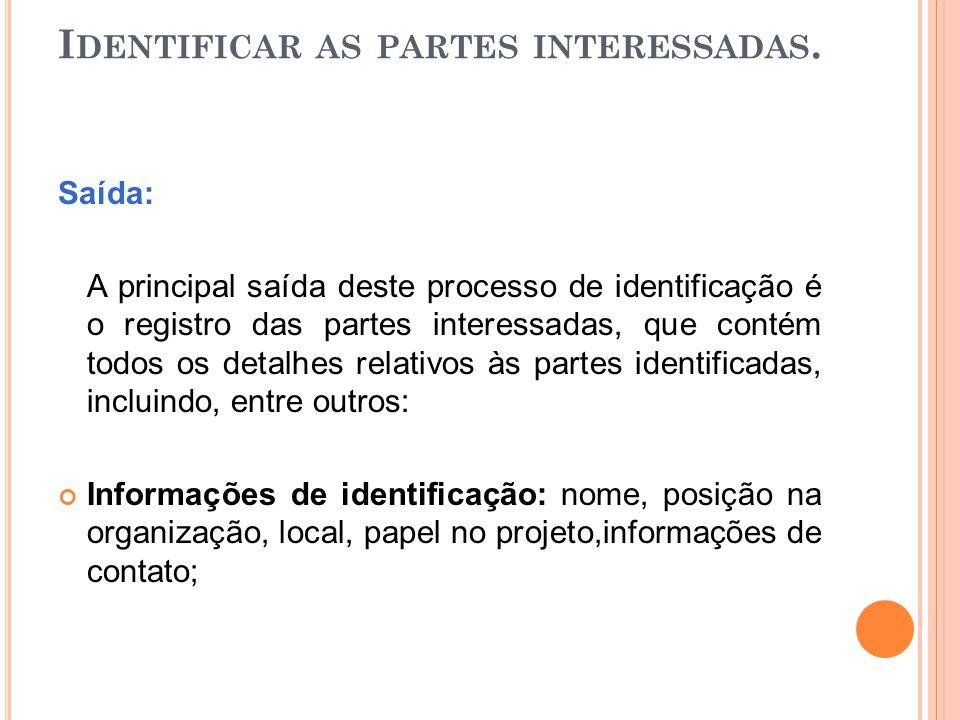 I DENTIFICAR AS PARTES INTERESSADAS. Saída: A principal saída deste processo de identificação é o registro das partes interessadas, que contém todos o
