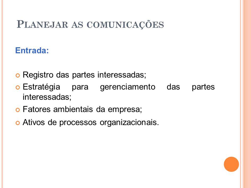 P LANEJAR AS COMUNICAÇÕES Entrada: Registro das partes interessadas; Estratégia para gerenciamento das partes interessadas; Fatores ambientais da empr