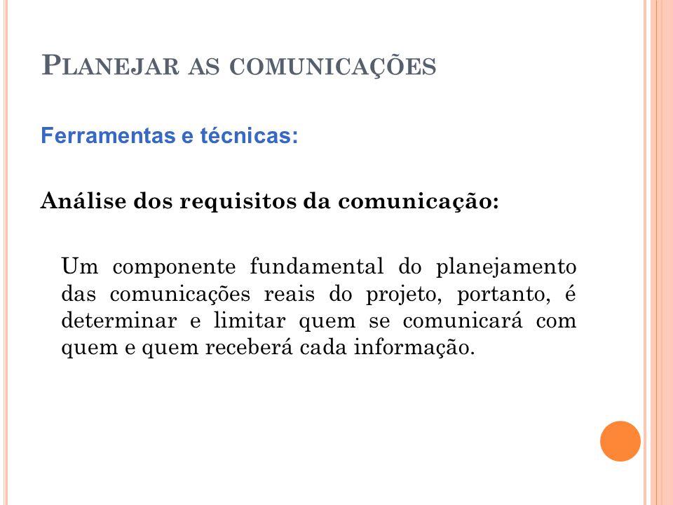 P LANEJAR AS COMUNICAÇÕES Ferramentas e técnicas: Análise dos requisitos da comunicação: Um componente fundamental do planejamento das comunicações re