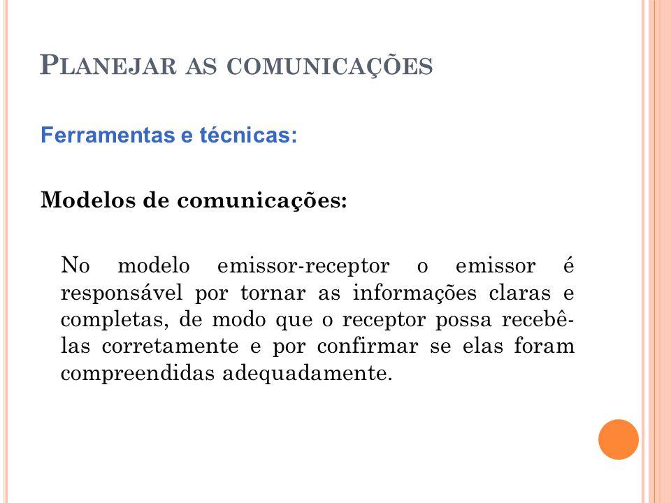 P LANEJAR AS COMUNICAÇÕES Ferramentas e técnicas: Modelos de comunicações: No modelo emissor-receptor o emissor é responsável por tornar as informaçõe