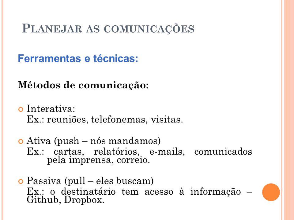 P LANEJAR AS COMUNICAÇÕES Ferramentas e técnicas: Métodos de comunicação: Interativa: Ex.: reuniões, telefonemas, visitas. Ativa (push – nós mandamos)