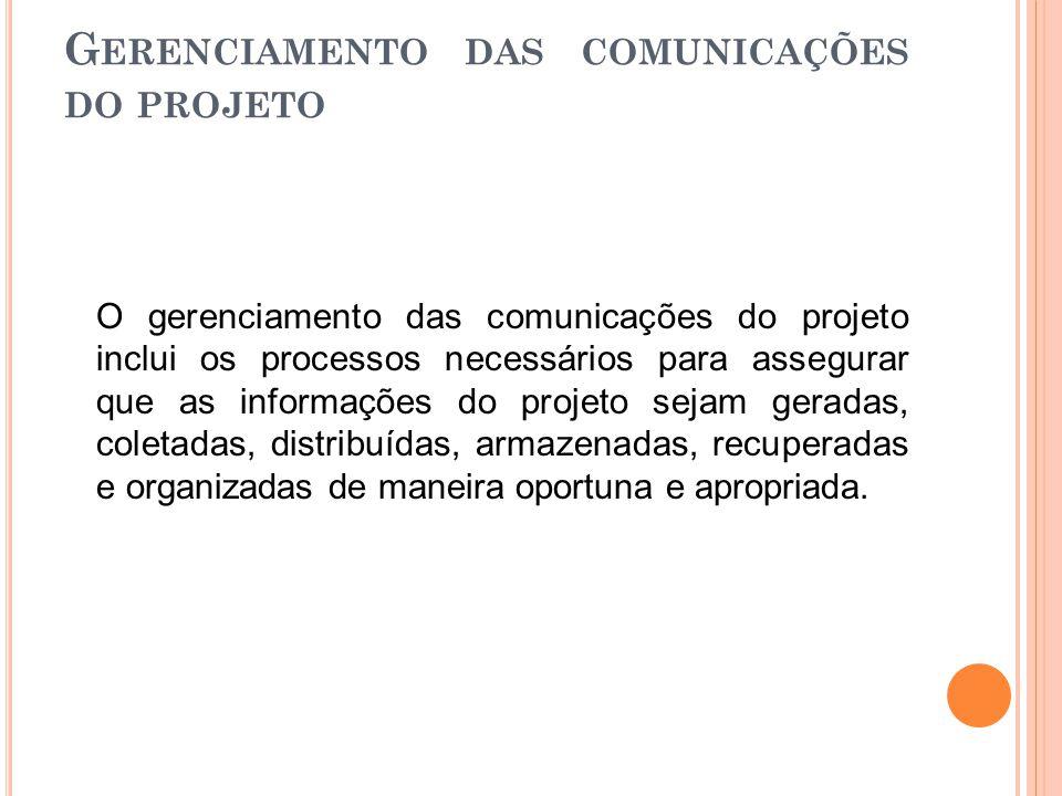 G ERENCIAMENTO DAS COMUNICAÇÕES DO PROJETO O gerenciamento das comunicações do projeto inclui os processos necessários para assegurar que as informaçõ