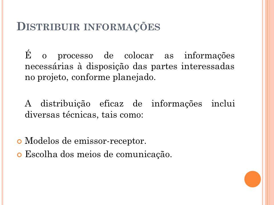 D ISTRIBUIR INFORMAÇÕES É o processo de colocar as informações necessárias à disposição das partes interessadas no projeto, conforme planejado. A dist