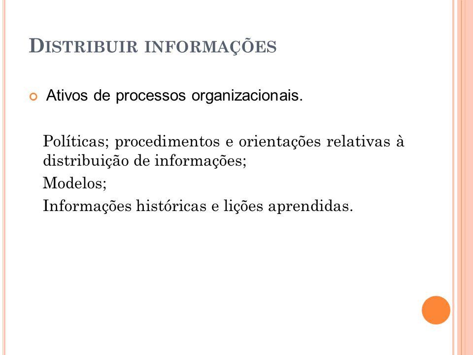 D ISTRIBUIR INFORMAÇÕES Ativos de processos organizacionais. Políticas; procedimentos e orientações relativas à distribuição de informações; Modelos;