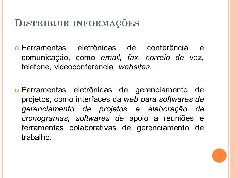 D ISTRIBUIR INFORMAÇÕES Ferramentas eletrônicas de conferência e comunicação, como email, fax, correio de voz, telefone, videoconferência, websites. F