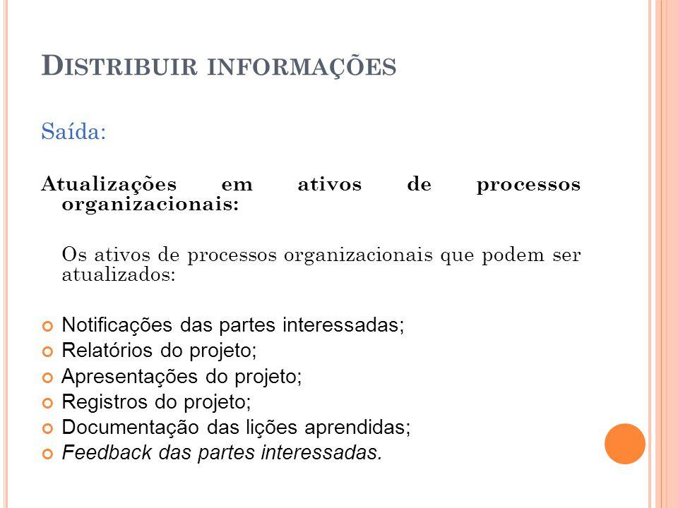 D ISTRIBUIR INFORMAÇÕES Saída: Atualizações em ativos de processos organizacionais: Os ativos de processos organizacionais que podem ser atualizados: