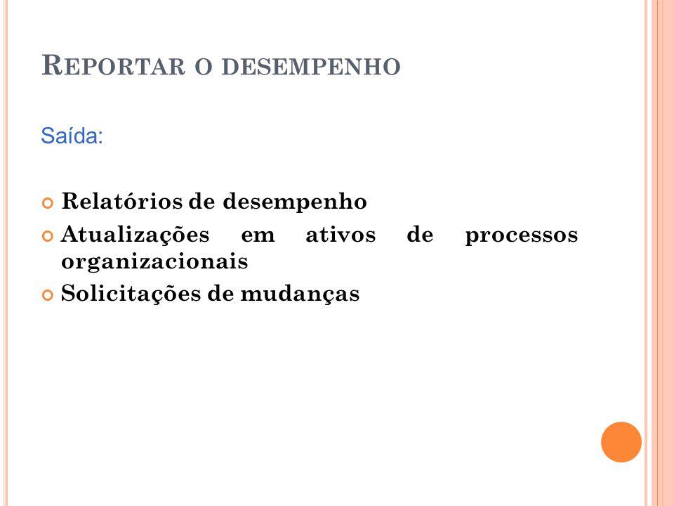 R EPORTAR O DESEMPENHO Saída: Relatórios de desempenho Atualizações em ativos de processos organizacionais Solicitações de mudanças