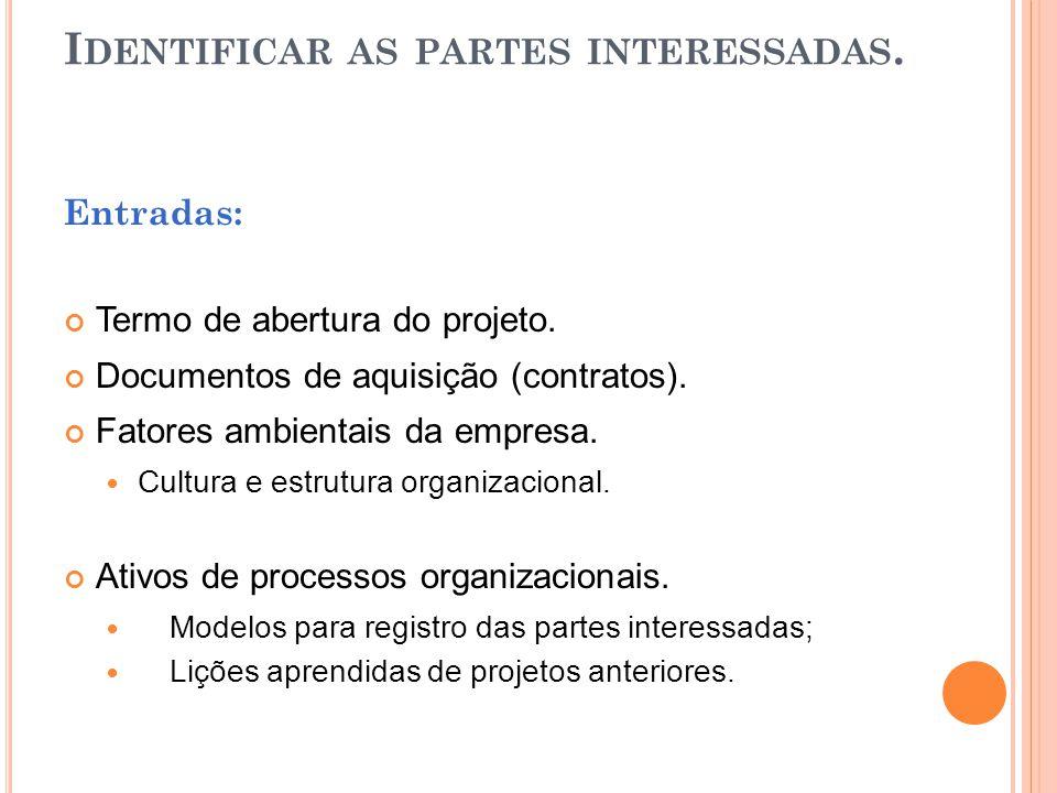 I DENTIFICAR AS PARTES INTERESSADAS. Entradas: Termo de abertura do projeto. Documentos de aquisição (contratos). Fatores ambientais da empresa. Cultu